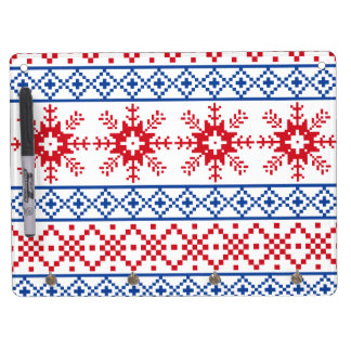 Nordic Christmas Snowflake Borders Dry Erase Board With Key Ring Holder