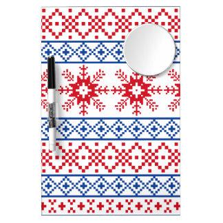 Nordic Christmas Snowflake Borders Dry Erase Board With Mirror
