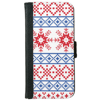 Nordic Christmas Snowflake Borders iPhone 6 Wallet Case