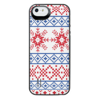 Nordic Christmas Snowflake Borders iPhone SE/5/5s Battery Case