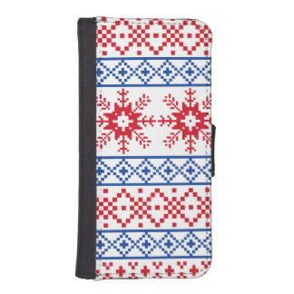 Nordic Christmas Snowflake Borders iPhone SE/5/5s Wallet Case