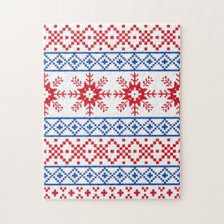 Nordic Christmas Snowflake Borders Jigsaw Puzzle