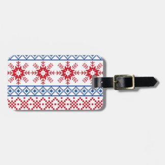 Nordic Christmas Snowflake Borders Luggage Tag