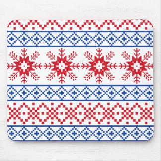 Nordic Christmas Snowflake Borders Mouse Pad