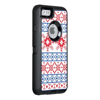 Nordic Christmas Snowflake Borders OtterBox Defender iPhone Case