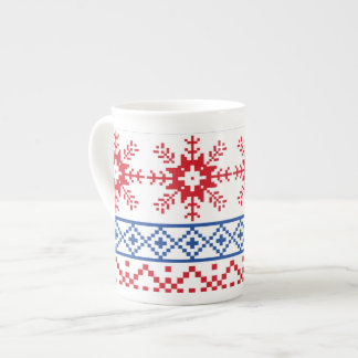 Nordic Christmas Snowflake Borders Tea Cup