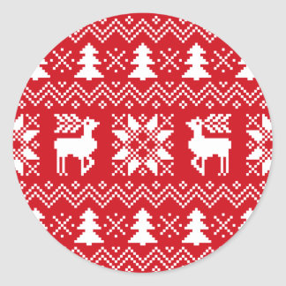 Nordic Christmas Sweater Inspired Red Pattern Classic Round Sticker