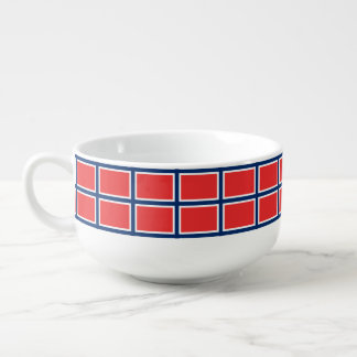 Nordic cross - blue white red soup bowl with handle