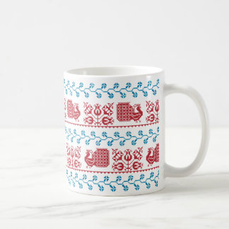 Nordic embroidery pattern (peacock and flowers) coffee mug