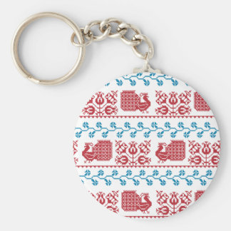 Nordic embroidery pattern (peacock and flowers) key ring