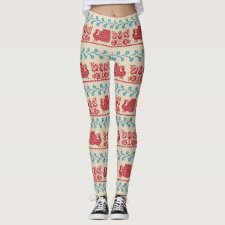 Nordic embroidery pattern (peacock and flowers) leggings