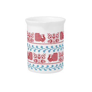 Nordic embroidery pattern (peacock and flowers) pitcher