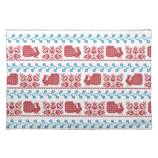 Nordic embroidery pattern (peacock and flowers) placemat