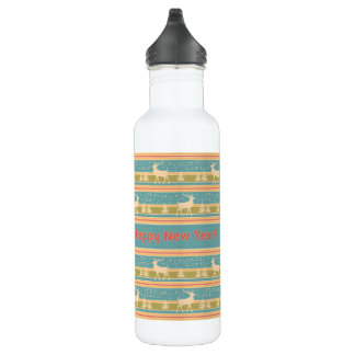 Nordic Ethnic New Year pattern. 710 Ml Water Bottle