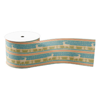 Nordic Ethnic New Year pattern. Grosgrain Ribbon
