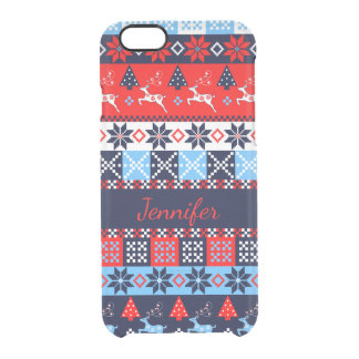 Nordic folk Seasonal pattern with custom Name Clear iPhone 6/6S Case