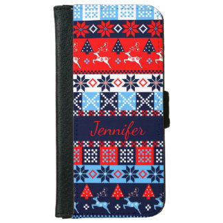 Nordic folk Seasonal pattern with custom Name iPhone 6 Wallet Case