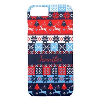 Nordic folk Seasonal pattern with custom Name iPhone 7 Case