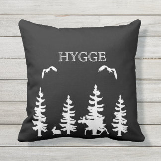 Nordic Hygge forest and animals in black white Throw Pillow