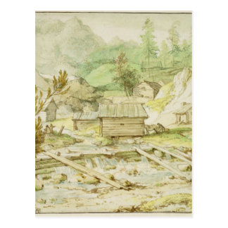 Nordic Landscape with Wooden Hut and Weir Postcard