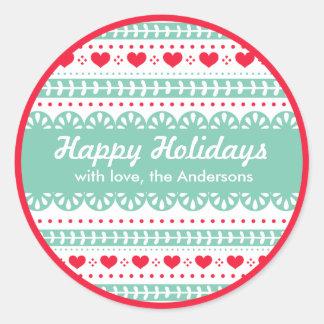 Nordic Pattern Gift Tag | Happy Holidays Custom Round Sticker