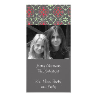 Nordic Pattern Holiday Photo Card in grey