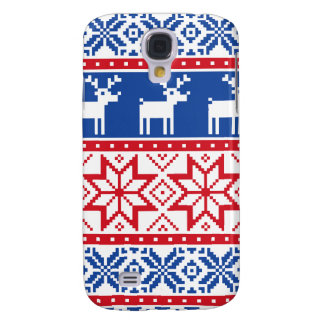 Nordic Reindeer and Snowflakes Galaxy S4 Cases