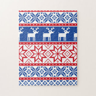 Nordic Reindeer and Snowflakes Puzzle