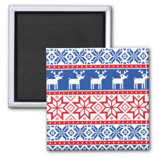 Nordic Reindeer and Snowflakes Square Magnet