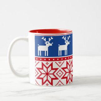 Nordic Reindeer and Snowflakes Two-Tone Coffee Mug