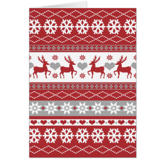 Nordic Reindeer Christmas Folded Holiday Greeting Card