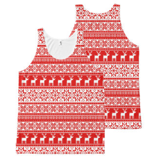 Nordic Snowflake Reindeer Ugly Christmas Sweater All-Over Print Singlet