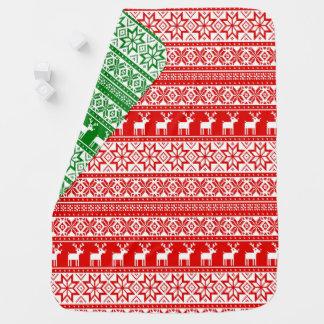 Nordic Snowflake Reindeer Ugly Christmas Sweater Baby Blanket