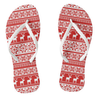 Nordic Snowflake Reindeer Ugly Christmas Sweater Thongs