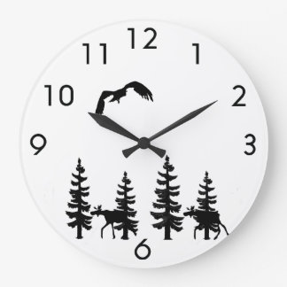 Nordic style pine trees silhouettes moose in black large clock