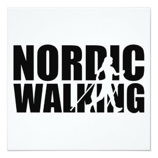 Nordic walking 13 cm x 13 cm square invitation card