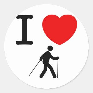 Nordic Walking Classic Round Sticker