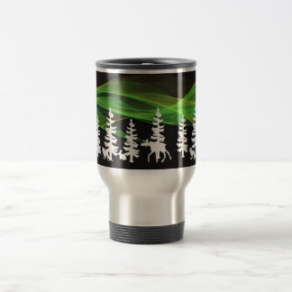 Nordic woods in white with northern lights travel mug