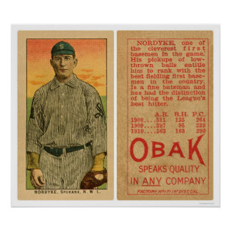 Nordyke Spokane Baseball 1911 Poster