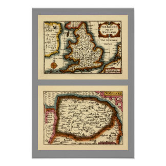 """Norfolcke"" Norfolk County Map Print"