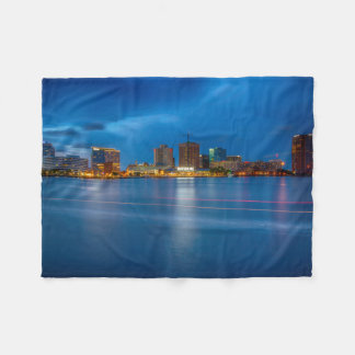 Norfolk City Skyline Fleece Blanket