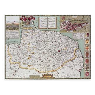 Norfolk, engraved by Jodocus Hondius Postcard