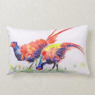 Norfolk Pheasants Watercolour Lumbar Cushion