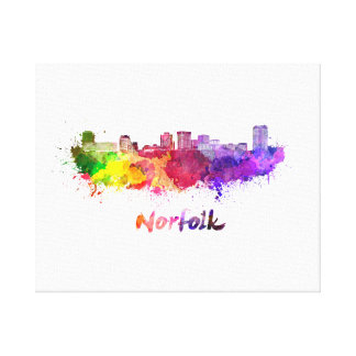 Norfolk skyline in watercolor canvas print