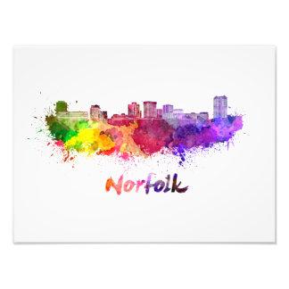 Norfolk skyline in watercolor photograph