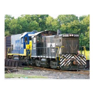Norfolk Southern SW- 1001 2105 & CSX 1537 Postcard