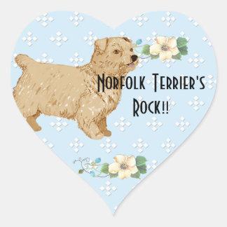 Norfolk Terrier - Blue w/ White Diamond Design Heart Stickers