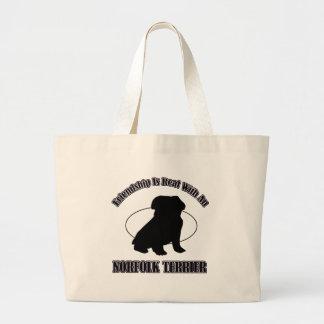 NORFOLK TERRIER DOG DESIGNS TOTE BAGS