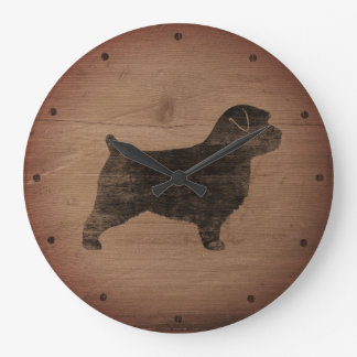 Norfolk Terrier Silhouette Rustic Large Clock