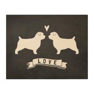 Norfolk Terrier Silhouettes Love Wood Print